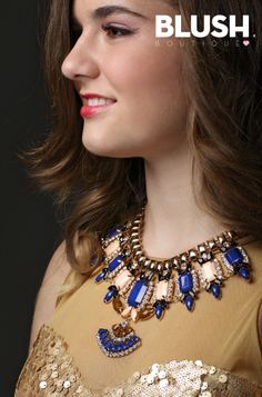 Gold Necklace #Blue #Necklace #fashion #chic #cool #fw
