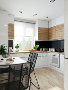 white and wood texture upper cabinets Modern Kitchen Design, Interior Design Kitchen, Kitchen Dinning Room, Upper Cabinets, Wood Texture, Beautiful Kitchens, House Design, Furniture, Interiors