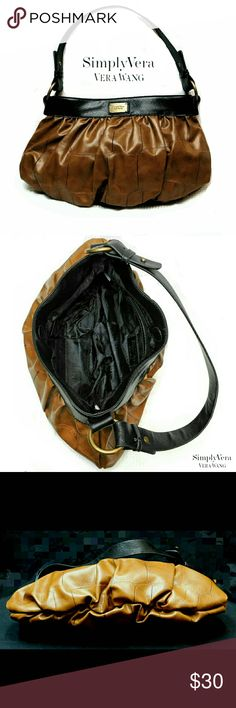 """NEWSIMPLY VERA WANG TOFFEE COLOR BAG NWOT SIMPLY VERA WANG TOFFEE COLOR SHOULDER BAG Actual Pictures/( Color May Appear Lighter due to Lighting) Magnetic Closing, Interior Zippered & 2 Slip Pockets Strap w/ Antique Gold Accents Black Strap   Drop   8 1/2"""" Approx Meas;    *   H   9""""    *   L   15"""" Pls See All Pics. Ask ? If Not Sure Simply Vera Vera Wang Bags Shoulder Bags"""
