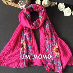Japanese Ethnic Style Embroidered Scarves and Shawls for Women Fashion Design Artistic Style Bandana and Pashmina for Ladies