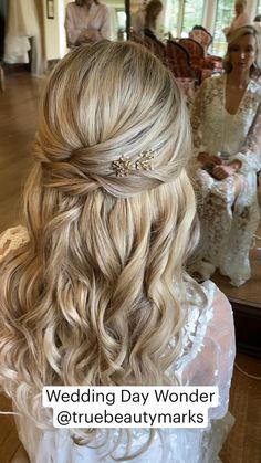 Half Up Wedding Hair, Wedding Hairstyles Half Up Half Down, Long Hair Wedding Styles, Wedding Hairstyles For Long Hair, Wedding Hair And Makeup, Bride Hairstyles, Long Hair Styles, Wedding Day, Formal Hairstyles