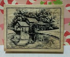 OLD GRIST MILL BARN K-2136 Landscape Stone Bridge Building RARE PSX Stamp #C112 in Crafts, Stamping & Embossing, Stamps | eBay