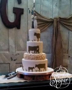 https://flic.kr/p/r9tcyy | rustic wedding cake | the cow silhouette wedding cake revisited -- this time, in colors to coordinate with the topper they selected and with some piped ribbon roses to also match those on the topper.