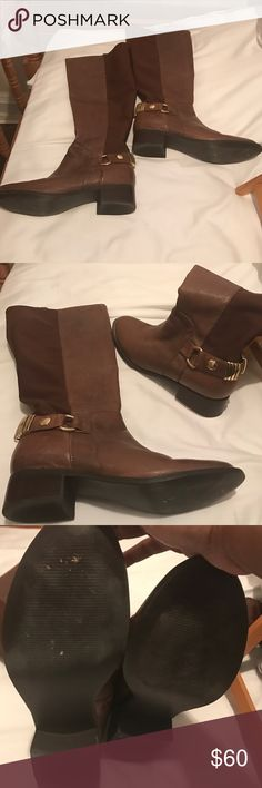 Steve Madden Boots Brown Leather Knee Boots with gold accents Steve Madden Shoes Over the Knee Boots