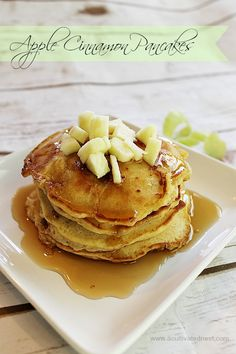 Melt in your mouth apple cinnamon pancakes made from scratch. Perfect weekend breakfast recipe!