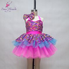 2016 Kids ballet dance tutu hot pink sequin dress for dancing girls Jazz/Tap dance costume child performance ballet dress 16202