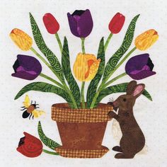 Rabbits Bouquet by Pearl Pereira, in:  Baltimore Spring pattern at P3 Designs