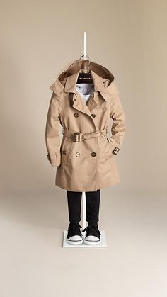 Burberry Honey Cotton Twill Detachable Hood Trench Coat - Water-resistant cotton twill trench coat with set-in sleeves.  Detachable hood with check detail, check cotton lining and undercollar.  Discover the childrenswear collection at Burberry.com