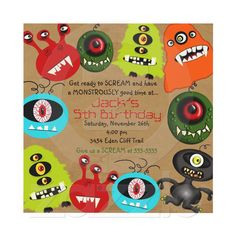 LittleBeane Monsters Invitation from Zazzle.com