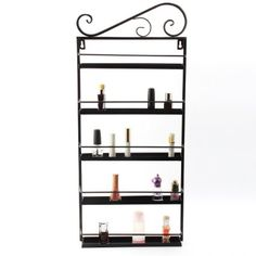 Dazone® Nail Polish Wall Mounted Rack Organizer Holds 50 Bottles Nail Polish Shelf (Black)