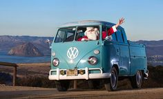 Santa cruises the SLO County coast in his favorite VW bus. Tribune photo by Joe Johnston (SanLuisObispo.com)