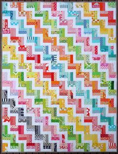 Zig Zag Rail Fence Quilt Pattern PDF by Red by redpepperquilts - so cheerful.  I just love these colors - all of them!