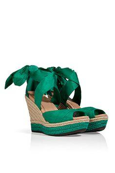 UGG AUSTRALIA Green Silk/Leather Lucianna Wedges