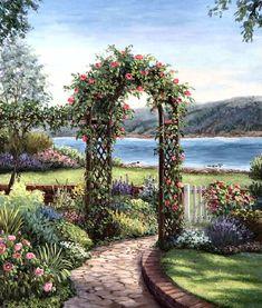 Archway in the Garden by Barbara Felisky