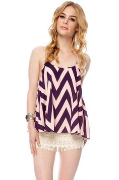 Zig Zag Top in Blue and Pink $27 at www.tobi.com