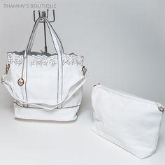 Fun Summer Style Women Tote White Leather Handbag Trendy Fashion Purse  #ThammysBoutique #ShoulderBag