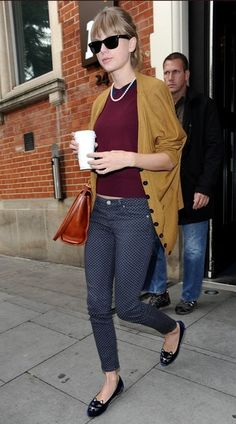 Taylor Swift Cardigan - Taylor tossed on a slouchy mustard cardigan with her burgundy sweater and polka-dot jeans while out in London.