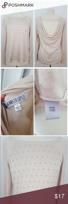 "Jennifer Lopez Studded Sweater Beige studded J.Lo long sleeve sweater, great condition !  Size large Sleeve length 31"" Armpit to armpit 18"" Length 24""  #jenniferlopez #jlo #studded #sweater #sizelarge #rachelboncek Jennifer Lopez Sweaters Crew & Scoop Necks"