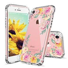 iPhone 7 Case, iPhone 7 Cases for Girls, MOSNOVO Pink Rose Flower Floral Printed Clear Design Transparent Plastic Hard Slim Back Case with TPU Bumper Gel Protective Cover for Apple iPhone 7 (4.7 Inch)