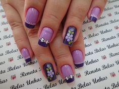 Unha Decorada Roxas +de 70 Ideias e Modelos em Roxo pra você escolher! Purple Nail Designs, Nail Designs Spring, Cool Nail Designs, Great Nails, Fabulous Nails, Cute Nails, French Tip Nails, Manicure E Pedicure, New Nail Art