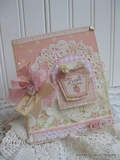 shabby chic STRAWBERRY PRESERVES mason jar PACKED with love stitched hand stamped handmade card