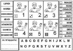 Sous-main à colorier et à coller très légérement sur un carton décoré de 26cm sur 35 cm puis plastifier Date, Montessori, Word Search, Art Plastique, Words, Counting, Number, Desk Pad, Learn To Count