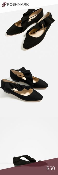 Frill Detail Ballerina Flats Brand new . Size39. Excludes 20% off sale Zara Shoes Flats & Loafers