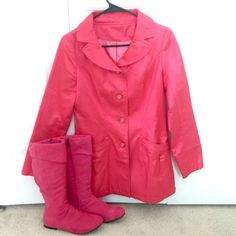 Pink light coat and pink boots (size 7) Pink light coat and pink boots (size 7) Jackets & Coats