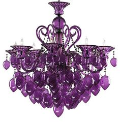 4079 PURPLE MURANO GLASS CHANDELIER  Add a bold splash of color to a room with this Murano chandelier. This hand-blown glass chandelier will flood even the gloomiest of rooms with light and color, bringing a brightness to the room that no ordinary chandeliers can rival. Available in red, green, aqua and purple.    Candelabra bulbs required: 8 - 60 watt   36 in (Height) 34.75 in (Width)