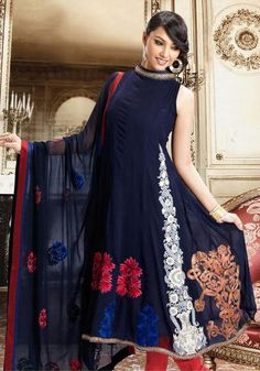 Blue Sleeveless Georgette Anarkali Salwar Kameez 15780