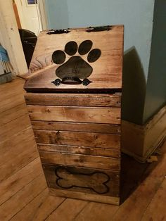 Details about Dog Food Storage Container Wood Wooden Puppy Pet Home Dry Keeper Bin Handmade - chiclana - Dog Food Bin, Puppy Food, Pet Puppy, Pet Food Storage, Food Storage Containers, Storage Ideas, Diy Storage, Storage Bins, Kitchen Storage