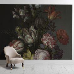 Feature Accent Wall Wallpaper. Peel and Stick. Dining Rm. Surface Views. 'Flowers in a Vase with Shells and Insects''