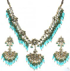 Teal Green Kundan Beaded Necklace Set with Earrings