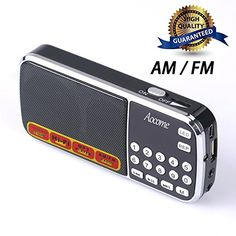 Aocome Portable Mini AM FM Radio Clear Speaker Music Player Micro SDTF Card Slot USB Charging Cord Rechargeable Liion battery Earphone Jack BM8 Black * ON SALE Check it Out