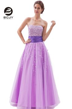 >> Click to Buy << Exquisite Lavender Beaded Strapless Prom Dresses A-Line Sleeveless Long Zip Back Wedding Party Gown vestido de festa #Affiliate