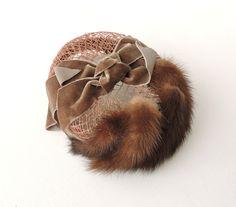 Vintage Mink Tail Hat, Brown Mink Fur Pillbox Hat, Open Crown Fur Hat…