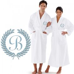 CUSTOM #LUXURY VELOUR STRIPED WITH LAUREL #CUSTOM INITIAL #EMBROIDERY ON FRONT OF #BATHROBE
