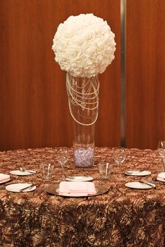 Tall rose ball centerpiece with pearls. Prettyyy!