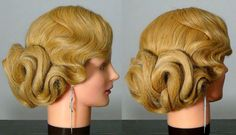 Wedding or  prom hairstyles for long hair, using a hairnet.