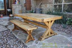How to Build a Chunky X Farmhouse Table Build A Farmhouse Table, Farmhouse Kitchen Tables, Diy Dining Table, Dining Room Bench, Outdoor Dining Furniture, Rustic Furniture, Dining Rooms, Farmhouse Garden, Furniture Ideas