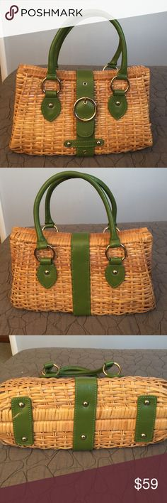 Borsetta Wicker and Leather Bag Beautiful leather and wicker handbag made in Milano.  This bag is stunning and beautifully constructed and features a lovely floral lining that is clean and has a zippered pocket and two pockets on the other side.  This bag is trimmed in beautiful green leather.  There is a small scratch in the leather at the bottom which no one will ever see. Borsetta Bags Satchels