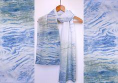 Scarf organic cotton shibori with natural indigo by dyeing2meetU, €40.00