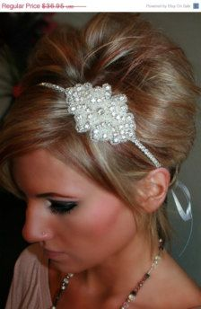 Bridal Hair Accessories - DIY as adding beading to ribbon then tie- could still use heart as centrepiece