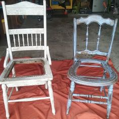These Two Antique Chairs Have Been Outside All Winter To Become Naturally  Chipafied. Today They