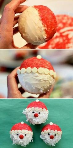Doable Santa cupcakes! Chocolate with vanilla icing, white choc chips, red sprinkles, coconut, M&Ms