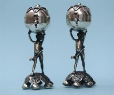 Antique Russian Solid Silver Salt Pepper Cruet Set Judaica Design. ca. 1894.