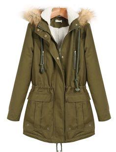Abrigo con capucha pelo-verde 38.21