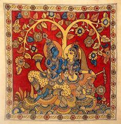 Radha Krishna sitting under Kadamb Tree Kerala Mural Painting, Indian Art Paintings, Small Paintings, Ancient Indian Art, Indian Folk Art, Madhubani Art, Madhubani Painting, Phad Painting, Tantra Art