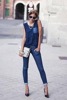 Denim on Denim: Mistura das cores de Jeans.... ótima para quem tem camisas velhas que podem ser recortadas e reaproveitadas
