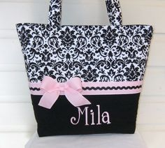 XL Black and White Damask with Light Pink Accents by MsSewItAll32, $40.00